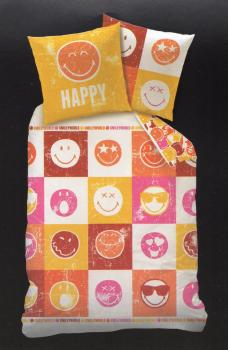 Bettwäsche Smiley World Happy - bunt - 135 x 200 cm - Renforcé - Smileys