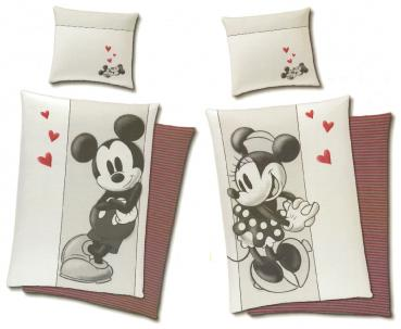Partner Bettwäsche - 1x Mickey + 1x Minnie Mouse - 135 x 200 cm - Baumwolle