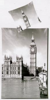 Bettwäsche London - Big Ben mit Tower - 135 x 200 cm + 80 x 80 cm - Mikrofaser
