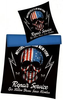 Bettwäsche Skull USA - Motorcycle Club Repair Service - 135 x 200 cm - Renforcé