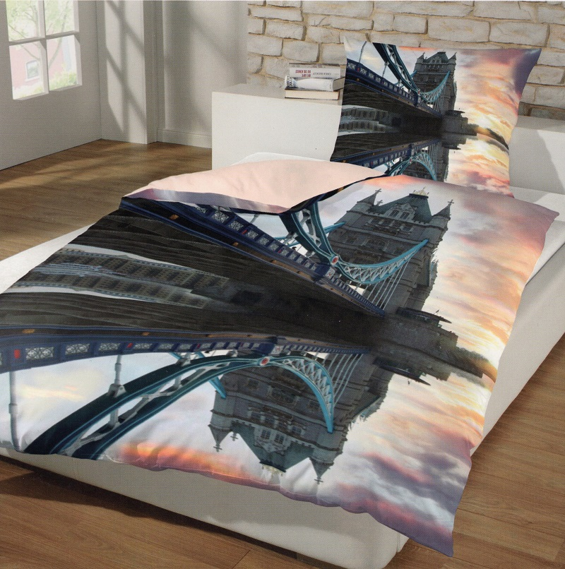 Bettwäsche London Romantic Tower Brigde 155x 220 Cm Baumwolle