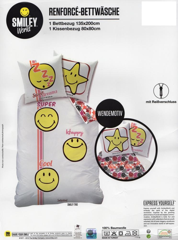 Bettwäsche Smiley World Sweet Dreams - 135 x 200 cm - Renforcé