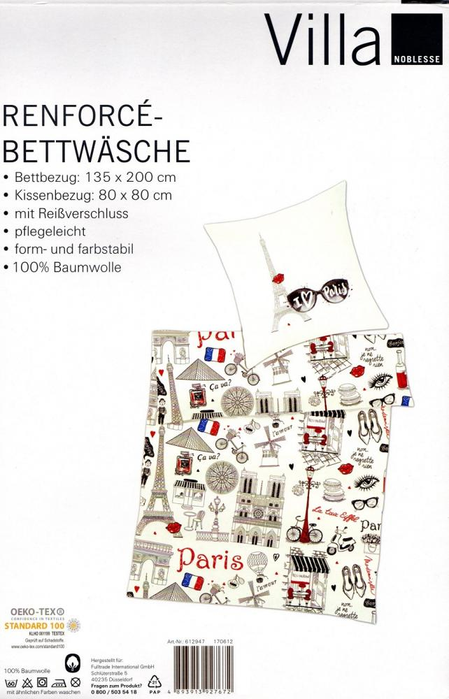 Bettwäsche I love Paris - 135 x 200 cm