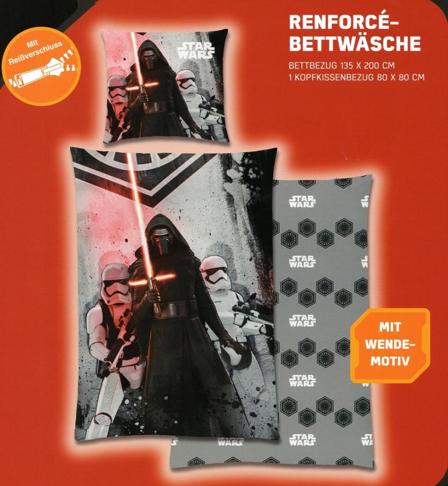 Disney Star Wars Bettwäsche Kylo Ren mit Trooper - grau - 135 x 200cm + 80x 80cm
